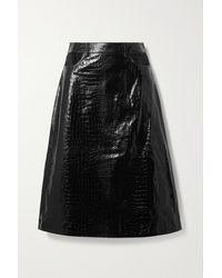 Dodo Bar Or Perla Cutout Croc-effect Leather Skirt - Black