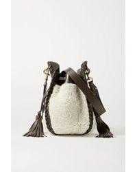 Isabel Marant Radja Whipstitched Leather-trimmed Shearling Bucket Bag - Multicolor