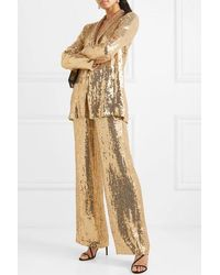 Alice + Olivia Racquel Sequined Tulle Wide-leg Pants - Metallic