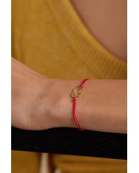 Yvonne Léon Armband Aus Seide Mit Detail Aus 18 Karat Gold Und Diamant - Mettallic