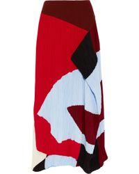 ROKSANDA - Calda Color-block Plissé-crepe Midi Skirt - Lyst