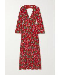 RIXO London Nadine Open-back Floral-print Silk-crepe Maxi Dress - Red