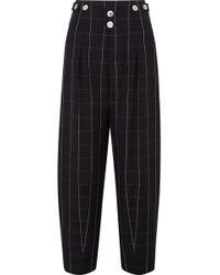 Chloé | Checked Wool Wide-leg Pants | Lyst