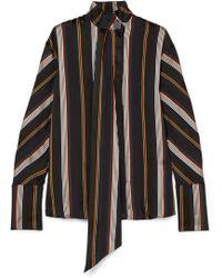 ROKSANDA - Mila Pussy-bow Striped Satin-jacquard Blouse - Lyst