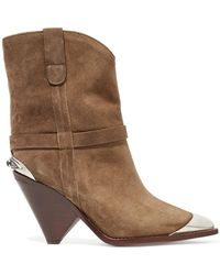 Isabel Marant - Lamsy Embellished Suede Ankle Boots - Lyst