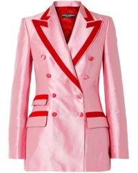 Dolce & Gabbana - Two-tone Cotton-blend Faille Blazer - Lyst