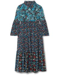 Anna Sui - Fruits & Florals Ditsy Daze Printed Silk-chiffon Midi Dress - Lyst