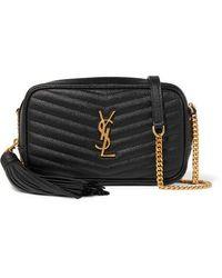 Saint Laurent Lou Mini Quilted Textured-leather Shoulder Bag - Black