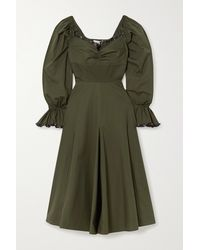 Lug Von Siga Serena Ruffle-trimmed Pleated Cotton-poplin Midi Dress - Green