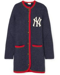 Gucci - + New York Yankees Embroidered Alpaca And Wool-blend Cardigan - Lyst