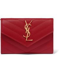 3f4079c712cfa Saint Laurent - Quilted Textured-leather Wallet Red One Size - Lyst