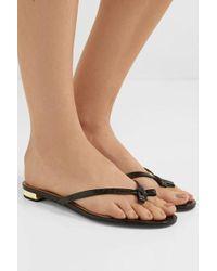 Aquazzura Riva Croc-effect Leather Flip Flops - Black