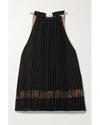 MICHAEL Michael Kors Embellished Lace-trimmed Pleated Crepe De Chine Top - Black