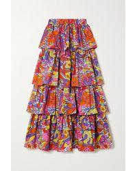 La DoubleJ Dolce Tiered Floral-print Cotton-poplin Maxi Skirt - Pink
