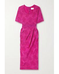 Les Rêveries Gathered Snake-print Silk Crepe De Chine Midi Dress - Purple