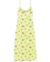 BERNADETTE - Hailey Floral-print Stretch-silk Satin Midi Dress - Lyst