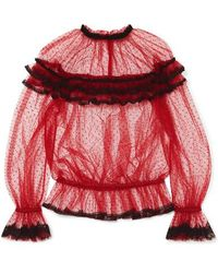 Dolce & Gabbana Ruffled Lace-trimmed Point D'esprit Tulle Blouse