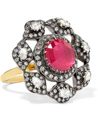 Amrapali - 18-karat Gold, Diamond And Ruby Ring - Lyst