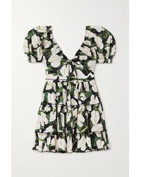 Agua by Agua Bendita Manzanilla Floral-print Tiered Cotton-poplin Mini Dress - Black