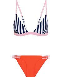 RYE SWIM - Splosh Striped Triangle Bikini - Lyst