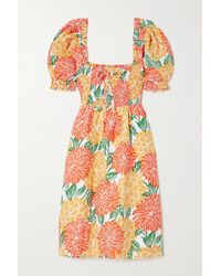 Faithfull The Brand Mini-robe En Lin À Imprimé Fleuri Et À Smocks Miguelina - Orange