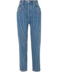 Mugler Jean Droit Taille Haute - Bleu