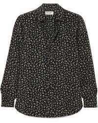 Saint Laurent Printed Silk Crepe De Chine Shirt - Black