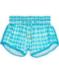 Paloma Blue - Paloma Printed Silk-satin Shorts - Lyst