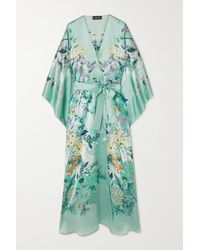 Meng Belted Floral-print Silk-satin Robe - Green
