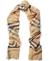 Burberry - Checked Wool And Silk-blend Scarf - Lyst