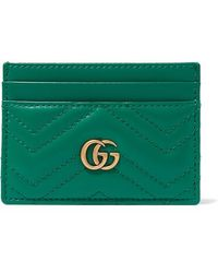 Gucci - Green Quilted GG Marmont Card Holder - Lyst
