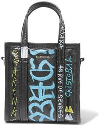 Balenciaga Bazar Xxs Graffiti Printed Textured-leather Tote - Black