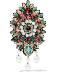 Etro Embroidered, Bead, Crystal And Faux Pearl Brooch - Multicolor