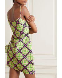 Maisie Wilen Party Girl Asymmetric Printed Crepe Mini Dress - Green