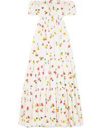 Caroline Constas - Bardot Off-the-shoulder Printed Cotton-blend Maxi Dress - Lyst