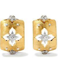 Buccellati Boucles D'oreilles En Or Jaune Et Blanc 18 Carats Et Diamants Macri Giglio - Métallisé