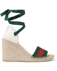 Gucci - Lilibeth Striped Grosgrain And Canvas Wedge Espadrilles - Lyst