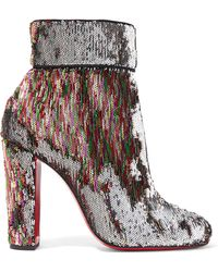 Christian Louboutin - Moulamax 100 Sequined Leather Ankle Boots - Lyst