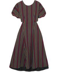TOME - Open-back Striped Cotton-blend Midi Dress - Lyst
