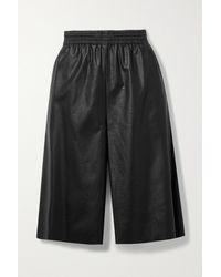 MM6 by Maison Martin Margiela Faux Leather Shorts - Black