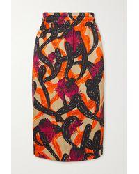 Dries Van Noten Solidos Shirred Printed Poplin Skirt - Orange
