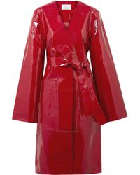 Solace London - Belted Patent-leather Coat - Lyst