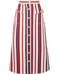 Gucci - Striped Denim Midi Skirt - Lyst