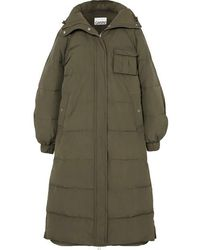 Ganni Oversized Quilted Shell Coat - Green