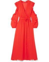 Maje - Ruffled Wrap-effect Chiffon Midi Dress - Lyst