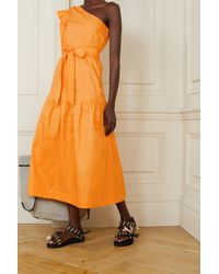 10 Crosby Derek Lam Finley One-shoulder Belted Cotton-poplin Midi Dress - Orange