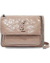 Saint Laurent Niki Medium Quilted Crinkled Glossed-leather Shoulder Bag - Natural