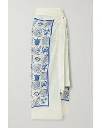 Agua by Agua Bendita Lavanda Printed Cotton And Silk-blend Pareo - Blue