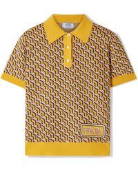 Prada - Intarsia Silk Polo Shirt - Lyst