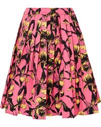 Prada - Pleated Floral-print Cotton-canvas Skirt - Lyst